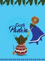 realistisches Gudi Padwa Illustrationskonzept