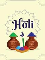glückliche holi indische Festivalgrußkarte mit Pulverschlammtopf und farbiger Farbe