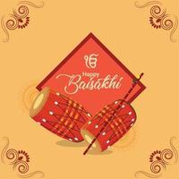 flaches Design glückliches Vaisakhi mit Trommel vektor