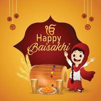 Happy Vaisakhi Feier flaches Design mit Trommel vektor