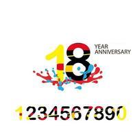 18 Jahre Jubiläum Set Vektor Vorlage Design Illustration