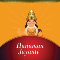 hanuman jayanti firande gratulationskort och bakgrund med lord hanuman vektor