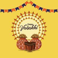 Happy Vaisakhi Feier flaches Design mit Trommel