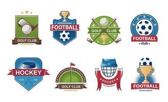Satz Fußball-Logos. Golf Sammlung Emblem. Hockey Labels Abzeichen. Vektorillustration. vektor