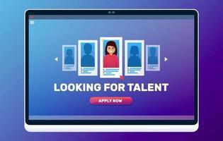 auf der Suche nach Talent Web Illustration. Rekrutierung von Unternehmen. Bewerbungsgesprächskonzept. vektor
