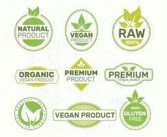 Set von Umweltzeichen, Bio, frisch, gesund, 100 Prozent, Premium- und Naturkost, vegan. Abzeichen, Tags, Verpackung. vektor