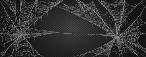 Spinnennetz für Halloween, gruselig, gruselig, Horror Dekor. Spinnennetz Realismus gesetzt. isoliert auf schwarzem Hintergrund. vektor