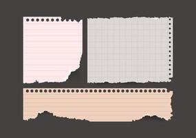 Sammelalbum Notizstücke zerrissenes Papierset. Notizbuchpapier zerrissen. Vektorpapier verschiedene Formen vektor
