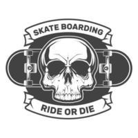 Skateboardschädel. Fahr oder stirb. Illustration für T-Shirt Druck. Vektor Mode Illustration