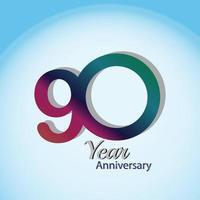 90 Jahre Jubiläum Logo Vektor Vorlage Design Illustration blau und weiß