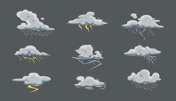 Sturmwolke großes Set mit Regen und Gewitter im Cartoon-Stil. Symbolsammlung für schlechtes Wetter. Himmel mit Regen vektor