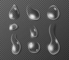 rent klart vatten droppar realistisk uppsättning på isolerad bakgrund. 3d vatten. vektor illustration