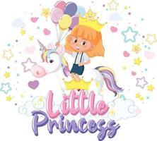 kleines Mädchen, das Pegasus mit der Schriftart der kleinen Prinzessin auf weißem Hintergrund reitet vektor