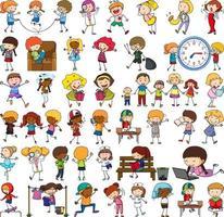 Satz verschiedene Gekritzelkinder Zeichentrickfigur vektor