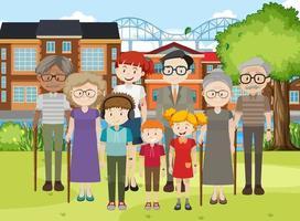 familjemedlem på parkens utomhusplats vektor