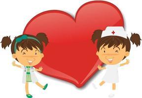 leeres großes Herzfahne mit zwei Krankenschwester-Zeichentrickfigur vektor