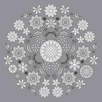 kreisförmiges Blumenmuster in Form von Mandala, dekorative Verzierung im orientalischen Stil, dekorativer Mandala-Designhintergrund mit Weinrebenvögeln und Schmetterlingen geben Vektor frei