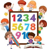 nummer 0 till 9 på banderoll med många barn som gör olika aktiviteter vektor