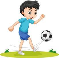 süßer Junge, der Fußballzeichentrickfigur isoliert spielt vektor