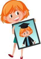 Zeichentrickfigur eines Mädchens, das ihr Abschlussporträtfoto hält