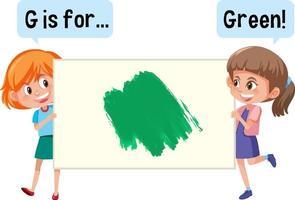 tecknad karaktär av två barn som håller färg vokabulär banner