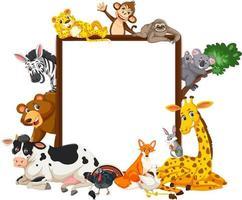 leeres Banner mit vielen verschiedenen wilden Tieren