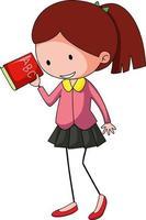 söt flicka doodle seriefiguren isolerade vektor