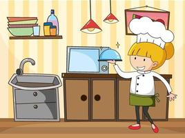 liten kock i köksscenen med utrustning vektor