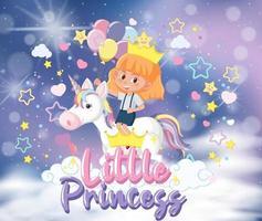 kleines Mädchen reitet Pegasus mit kleiner Prinzessin Schriftart im Pastellhimmel vektor