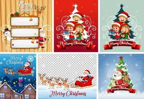 Satz verschiedene Weihnachtspostkarte oder -plakat vektor