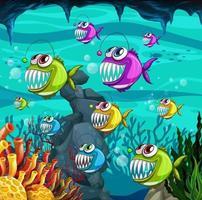 Angler fischt Zeichentrickfigur in der Unterwasserszene mit Korallen vektor
