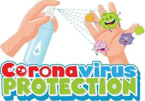 Coronavirus-Schutzschrift mit der Hand mit Alkohol-Desinfektionsspray vektor