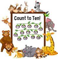 zählen bis zehn Brett mit wilden Tieren vektor