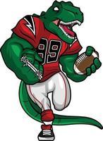 grön dinosaurie - amerikansk fotboll maskot karaktär design vektor