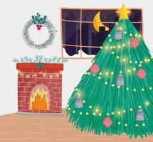 Frohe Weihnachten Plakat mit niedlichen Weihnachtsbaum zu Hause vektor