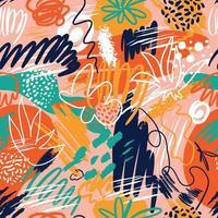 abstrakte nahtlose Muster mit handgezeichneten Texturen im Memphis-Stil, Trenddruck auf Weiß. Retro Mode Hintergrund. vektor