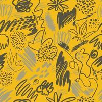 abstrakter Vektor beleuchtete gelbes und ultimatives graues strukturiertes handgezeichnetes kritzelndes nahtloses Druckmuster. trendige Textur für Textildesign, Geschenkpapier, Oberfläche, Tapete, Hintergrund.