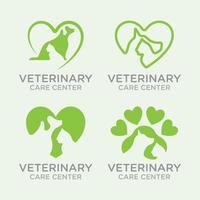 Veterinär-Haustierkonzept mit Hunde- und Katzenlogovektorschablone vektor