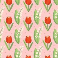 Schneeglöckchen, Tulpe, natürliches nahtloses Blumenmuster, Textur, Hintergrund. Verpackungsdesign. vektor