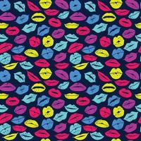 flaches Design der Lippen. nahtloses Muster der Ikone Neon Lippen. Vektorfarbdesign. vektor