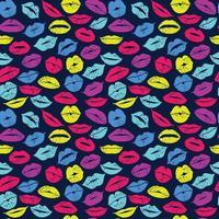 platt design av läppar. sömlösa mönster av ikon neon läppar. vektor färg design.