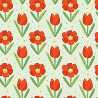 Mohnblume, Tulpe, natürliches nahtloses Muster, Textur, Hintergrund. Frühling. Blühen. Verpackungsdesign, Geschenkpapier. vektor