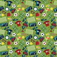 Vektor flache nahtlose Textur Muster Sport Fußball auf grünem Hintergrund
