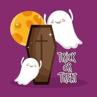 lycklig halloween, lura eller behandla spöklik kista och spöken vektor