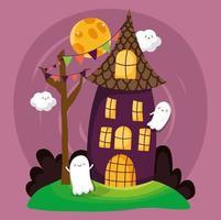 glad halloween bild med hemsökta hus vektor