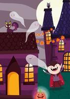 glad halloween, trick or treat med söta karaktärer vektor