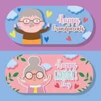 glad morföräldrar dag tecknad design
