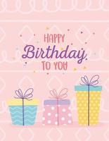 färgglatt födelsedagskort med gåvor vektor