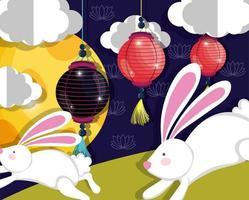 Kaninchen glückliches Mondfestbild vektor