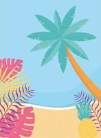 Strandlandschaft mit tropischem Laub vektor